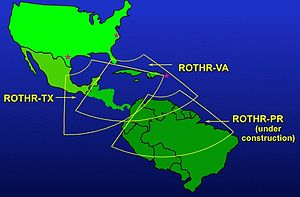Over-the-horizon radar - Coverage of the three U.S. Navy ROTHR stations in Texas, Virginia, and Puerto Rico