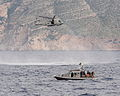 Royal Navy Merlin Helicopter with Albanian Patrol Boat MOD 45154610.jpg