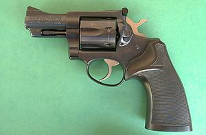 "Ruger Security-Six - Ruger Security Six with a 3"" barrel and rubber grips."