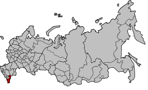 Republic of Dagestan on the map of Russia as o...