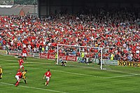 May 5, 2007, Ryan Valentine scores the goal that keeps Wrexham in the Football League