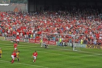 Wrexham A.F.C. - 5 May 2007: Ryan Valentine scores the goal against Boston that keeps Wrexham in the Football League