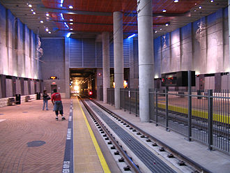 San Diego State University Transit Center - Platforms at the San Diego State University Transit Center.