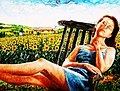 SIESTA TRA I GIRASOLI - Olio su tela 80 x 60 dipinto di Gaetano Minale.jpg