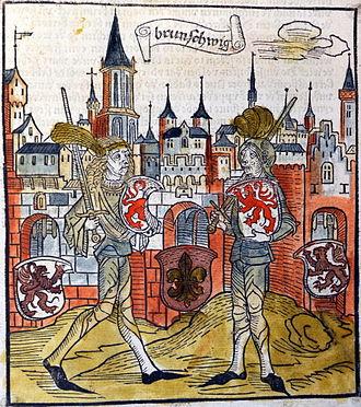Timeline of Braunschweig - Image: Sachsenchronik Bote 1492 Ritter der Lilienvente (Stadtbibliothek Braunschweig)