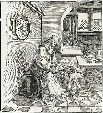 Maubeuge Abbey - St. Madelberte, Abbess of Maubeuge, being tempted by a demon while in prayer, from a woodcut by Leonhard Beck (1517-1519)