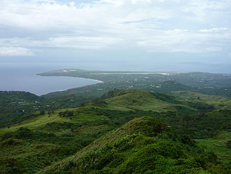 Saipan International Airport - Saipan International Airport (far background), photographed from the top of Mount Tapochau.