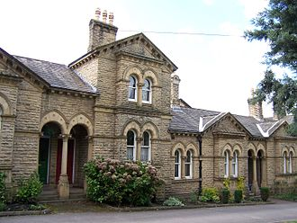 Model village - Almshouses in Saltaire, Yorkshire, typical of the architecture of the whole village