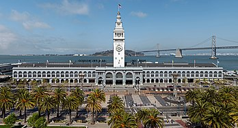 Le Ferry Building, terminal pour ferries à San Francisco. (définition réelle 4 800 × 2 599)