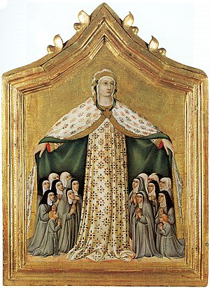 Virgin of Mercy - Sano di Pietro, 15th century; the Virgin shelters a group of nuns, including two novices with uncovered heads