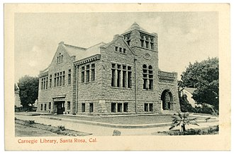 Shadow of a Doubt - 1905 postcard of the Santa Rosa library