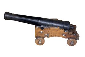8-pounder short gun -  1/4the scale model of an 8-pounder short gun, 1786 pattern, with 1820 pattern mounting. On display at the Musée national de la Marine, Paris.