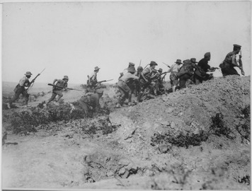 Scene just before the evacuation at Anzac. Australian troops charging near a Turkish trench. When they got there the... - NARA - 533108.tif