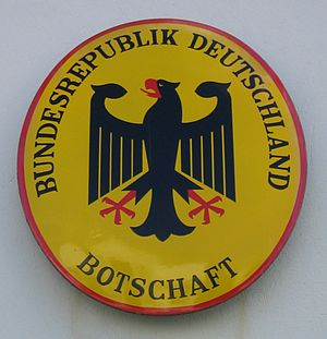 Names of Germany - Official German-language plaque of a German embassy