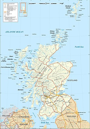 Constitutional status of Orkney, Shetland and the Western Isles - Map of Scotland showing Orkney and Shetland (north-east of the mainland) and the Western Isles or Outer Hebrides (north-west of the mainland)