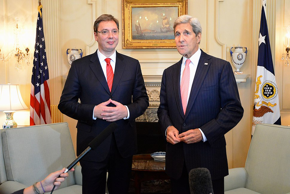Secretary Kerry and Serbian Prime Minister Vucic Address Reporters Before Their Bilateral Meeting in Washington (21482818931)