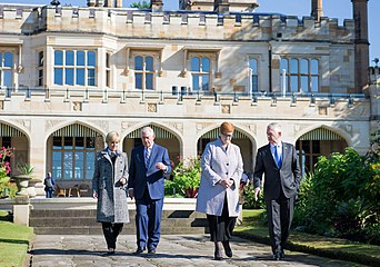 Secretary Tillerson Chats With Foreign Minister Julie Bishop, Senator Payne and Secretary Mattis During a Garden Walk at the NSW Government House (34293937393)