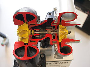 Garrett AiResearch - Garrett AiResearch turbocharger from a Valmet tractor sectioned for educational purposes.