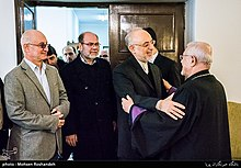 Sepuh Sargsyan, archbishop of the Armenian Diocese of Tehran visit AliAkbar Salehi head of Atomic Energy Organization of Iran at Tehran Prelacy 25.jpg