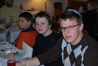 Kippah - A Passover seder with two boys wearing kippot