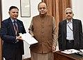 Shaktikanta Das, IAS with Arun Jaitley and R. P. Watal, IAS.jpg
