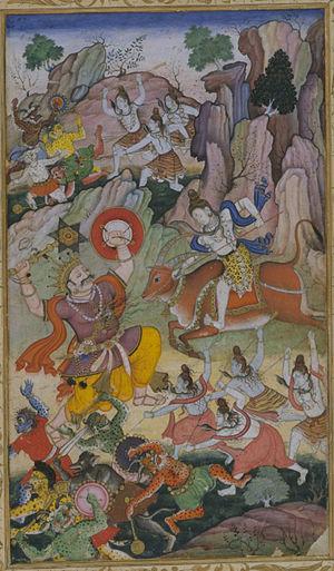 Andhaka - Shiva slays Andhaka, c. 1590, Akbar's translation of Harivamsa