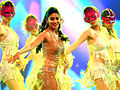 Shriya Saran dancing at CCL2 curtain raiser.jpg