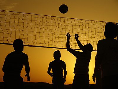 This is a Silhouette of play Vollyball in Iran.