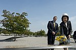 Silvia, the Queen of Sweden, lays a bouquet of flowers at the Pentagon Memorial.jpg