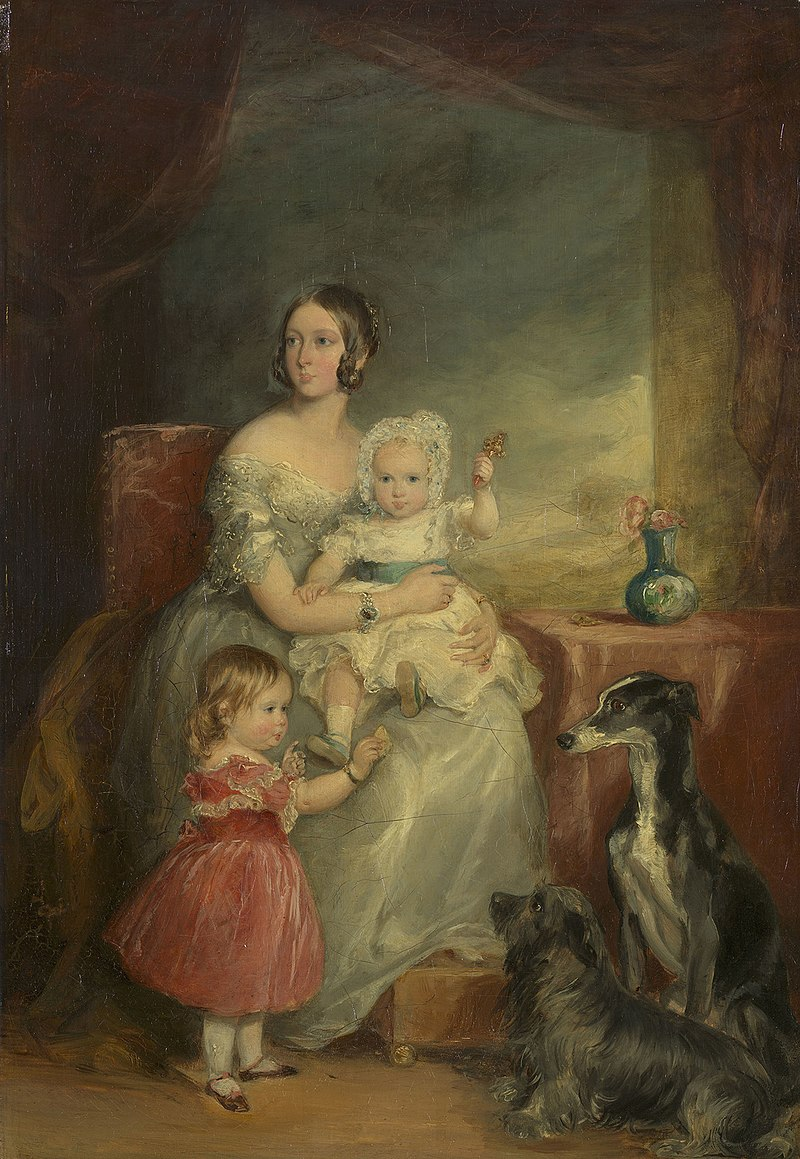 Sir Francis Grant (1803-78) - Queen Victoria with Victoria, Princess Royal, and Albert Edward, Prince of Wales - RCIN 406944 - Royal Collection.jpg