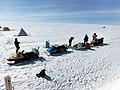 Ski-Doo's and researchers in Swiss Camp (Greenland).jpg