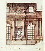 Venstre billede:   Den gamle slotskirke i slottet Tre kroner 1695.   Fra Suecia antiqua et kardiene.   Højre billede:   Skitse af Tessin d.y. ca. 1698
