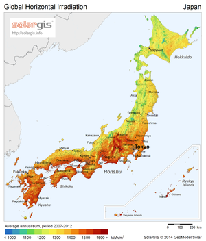 Solar power in Japan - Japan's solar potential