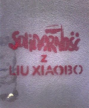 "Liu Xiaobo - Polish mural in Warsaw, reading ""Solidarity with Liu Xiaobo"""