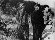 Tre asiatici uomo in piedi in un campo nevoso