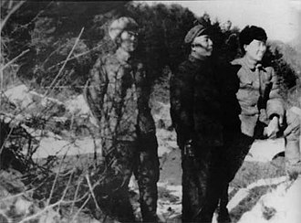 Battle of Chosin Reservoir - Song Shilun (middle), commander of the People's Volunteer Army 9th Army at Chosin Reservoir