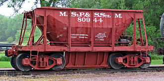 Minneapolis, St. Paul and Sault Ste. Marie Railroad - A well-used Soo Line  hopper car, built in 1916. Hauling iron ore was an important part of the Soo Line's business.