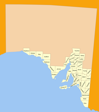 Lands administrative divisions of South Australia - The 45 counties of South Australia in 1893; 4 more would later be proclaimed