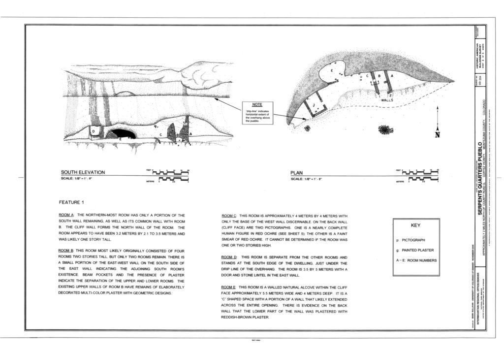 Elevation Plan Wiki : File south elevation and plan serpents quarters pueblo