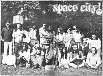 Space City (newspaper) - Cover of Space City!, Houston, Texas, Vol. 3, No. 1, June 8, 1971, with photo of the paper's staff.
