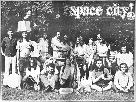 Cover of Space City!, Houston, Texas, Vol. 3, No. 1, June 8, 1971, with photo of the paper's staff. Thorne Dreyer is second from right in front row. Space City cover with staff.jpg
