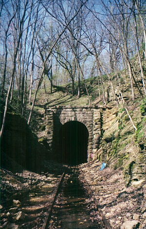 Wisconsin and Calumet Railroad - The portal of the Stewart Tunnel near Monticello in Green County, Wisconsin, shortly before the rails were removed.