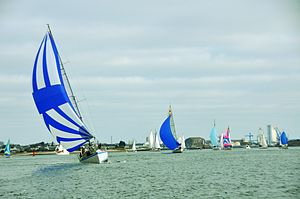 Spinnaker - Boats using spinnakers during a regatta in Lorient (France).