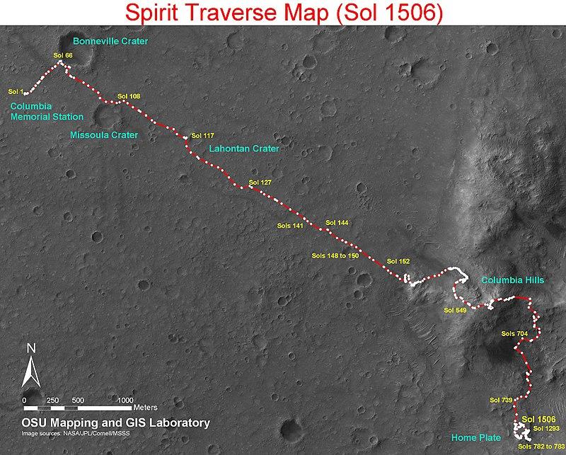 Trajet de Spirit depuis son site d'atterrissage jusqu'à Home Plate, qu'il va explorer pendant plus de trois ans, de février 2006 à mai 2009, avant de s'enliser dans les dunes avoisinantes.