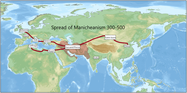 The spread of Manichaeism (300–500) Spread of Manicheanism.png