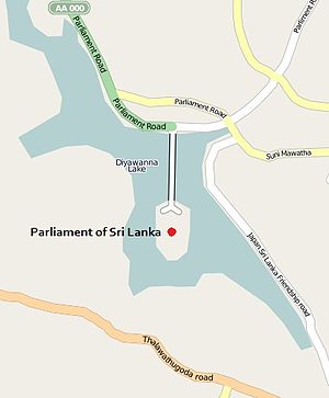 Sri Lankan Parliament Building - Location of the parliament building around the Diyawanna lake