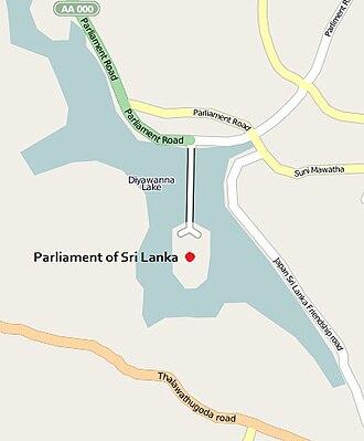 Sri Lankan Parliament Building - Location of the parliament building around the Diyawanna lake