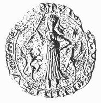 Ommen - The official seal of the city of Ommen (15th century), depicting its patron saint, Saint Brigid of Kildare
