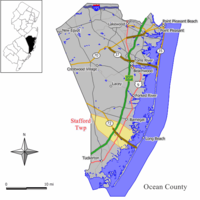 Map of Stafford Township in Ocean County. Inset; Location of Ocean County highlighted in the State of New Jersey.