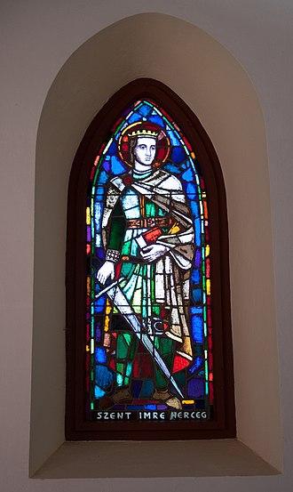Lili Árkayné Sztehló - Image: Stained glass window in the Galyatető Roman Catholic church with Saint Emeric